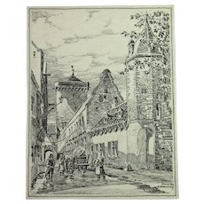 1900's Original Art Nouveau Ink Drawing of City scene in Zons Rhine by Franz Brantzky