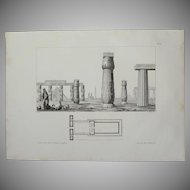 1802 Original Site Plan of the temple in Edfu & View different Ancient architectural Sights of Egypt - Copper Engraving from Napoleons Travels to Egypt (Vivant Denon)