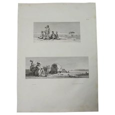 "Antique Print of Views of Native Egyptian in Nature with Pyramids - Original Copper Engraving from ""Napoleons Travels to Egypt"" (Vivant Denon) 1802"