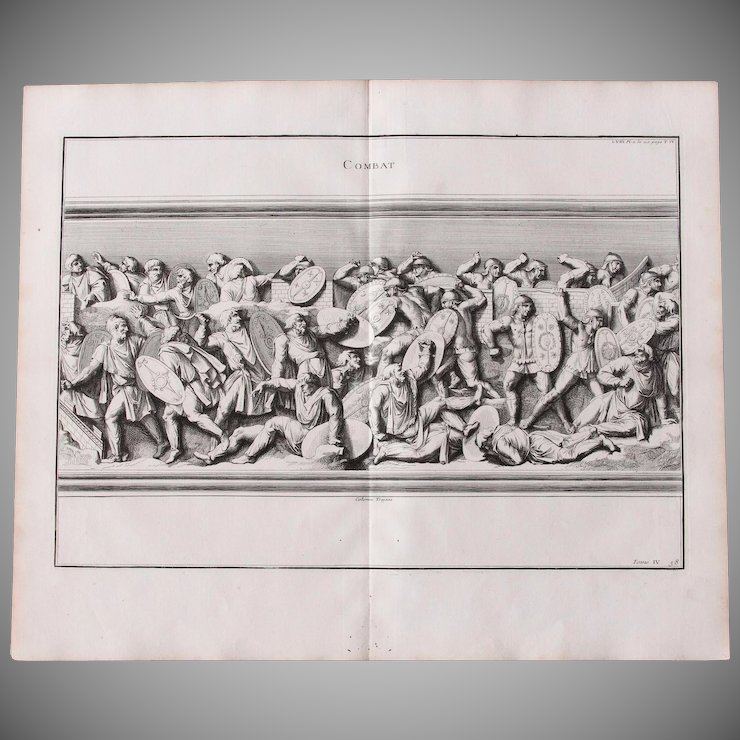 18th century copper engraving of ancient combat from l antiquité