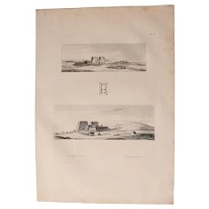 1802 Original Views of the Horus temple in Edfu - Copper Engraving from Napoleons Travels to Egypt (Vivant Denon)