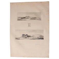 1802 Original Views of the Horus temple in Edfu - Copper Engraving from Napoleons Travels to Egypt (Vivant Denon)
