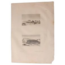 1802 Original View of Ancient temple Ruins and an ancient Tomb in Upper Egypt - Copper Engraving from Napoleons Travels to Egypt (Vivant Denon)