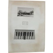 """Antique Print of the Temple of Khnum in Latopolis or Esna and an Arabic tent - Original Copper Engraving from """"Napoleons Travels to Egypt"""" (Vivant Denon) 1802"""