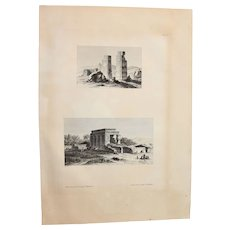"""Antique Print of temples on the island Elephantine in Egypt- Original Copper Engraving from """"Napoleons Travels to Egypt"""" (Vivant Denon) 1802"""