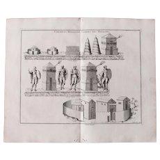 18th Century Copper Engraving of Ancient Roman Granaries & Guard Posts from L'antiquité expliquée et représentée en figures by Bernard de Montfaucon