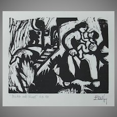 "Eberhard Viegener Expressionist Original Woodcut ""Mutter und Kind"" (Mother & Child) from 1919 Germany"
