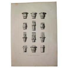"Original Antique Print of Egyptian Capitals - Original Copper Engraving from ""Napoleons Travels to Egypt"" (Vivant Denon) 1802"