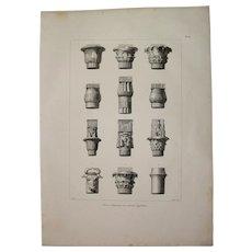 "Original Antique Print of Egyptian Capitals - Original Copper Engraving from ""Napoleons Travels to Egypt"" (Vivant Denon) 1802"