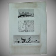 """Antique Print of Views and a ground plan of the Temple of Armant / Hermonthis - Original Copper Engraving from """"Napoleons Travels to Egypt"""" (Vivant Denon) 1802"""