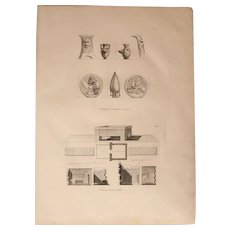 """Original Antique Print of Antiquities found on the Island of Gozo and a shrine of Malta  - Original Copper Engraving from """"Napoleons Travels to Egypt"""" (Vivant Denon) 1802"""