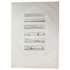 "Original Antique Print of Views of the French Fleet and  Malta - Original Copper Engraving from ""Napoleons Travels to Egypt"" (Vivant Denon) 1802"