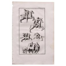 18th Century Copper Engraving of Ancient Cavalryman from L'antiquité expliquée et représentée en figures by Bernard de Montfaucon