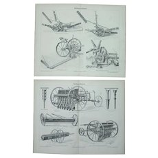 19th Century Set of two Prints of agricultural machines - Mowing machines & seeders - 1875 Technical Steel Engraving