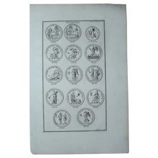 18th Century Copper Engraving of Ancient Roman Victory Medals from L'antiquité expliquée et représentée en figures by Bernard de Montfaucon