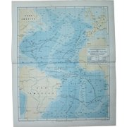 19th Century Map of the Atlantic Ocean with its depths - 1876 Steel Engraving