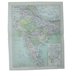 19th Century Map of India including Mumbai, Delhi, Sri Lanka, Tibet and more - 1877 Steel Engraving