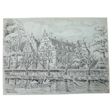 1900's Original Art Nouveau Ink Drawing of The Kranichstein hunting castle lodge by Franz Brantzky