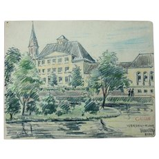 1910's Original Art Nouveau Charcoal and Pastel Painting of the Ruhr River in Werden Germany by Franz Brantzky