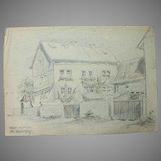 1930's Original Pencil & Pastel Drawing of Oberweyer Germany by Franz Brantzky