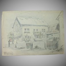 1930's Original Pencil & Pastel Drawing of Oberweyer Germany by Franz Brantzky