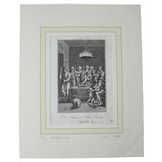 18th Century Copper Engraving of the First Passover - Moses Exodus 12-23