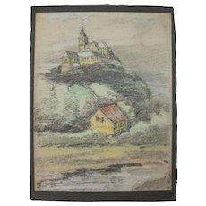 Original Pastel Drawing of Michaelsburg Abbey in Siegburg Germany by Franz Brantzky