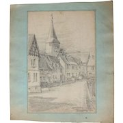 1910's Original Pencil Drawing of the Village of Gemünden (Westerwald) by Franz Brantzky