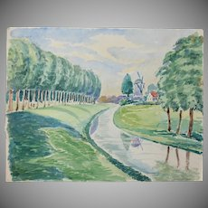 """1920's Original Impressionism Aquarelle Painting """"River by the Windmill"""" by Franz Brantzky"""