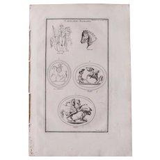 18th Century Copper Engraving of Ancient Cavalryman and Horses from L'antiquité expliquée et représentée en figures by Bernard de Montfaucon