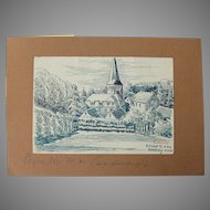 Original Ink Drawing of the Village of Eitorf  by Franz Brantzky