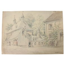 1910's Original Pencil & Pastel Drawing of beautiful Chapel in a village in Germany by Franz Brantzky