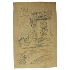 """19th Century Original Sketch for the book """"Reiseskizzen"""" by Franz Brantzky"""
