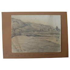 1918 Original Pencil Drawing of a German Landscape by Franz Brantzky
