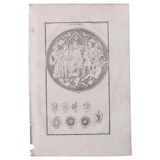 18th Century Copper Engraving of Ancient Roman Shields from L'antiquité expliquée et représentée en figures by Bernard de Montfaucon