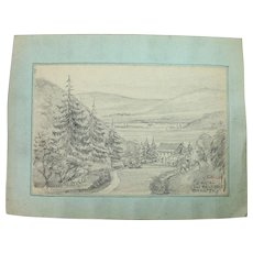 1910's Original Pencil Drawing of the Sieg Valley near Eitdorf by Franz Brantzky