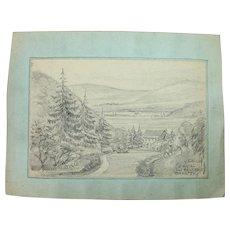 1910's Original Pencil Drawing of the Sieg Valley near Eitdorf by Franz Brantzky