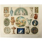 19th Century Polychrome Lithograph of historic Ceramic & Porcelain - 1878 Print of Pottery