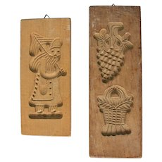 "Set of two 19th Century carved Wood Springerle Molds - ""Santa Claus"" - Saint Nicholas & Harvest Cookie Boards"