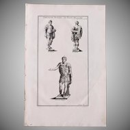 18th Century Copper Engraving of Roman Emperors in Military Habits from L'antiquité expliquée et représentée en figures by Bernard de Montfaucon