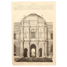 1856 Original Print of the Semper Gallery in Dresden - Antique Steel Engraving of the  Old Masters Picture Gallery of the Zwinger