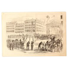 1856 Original Depiction of the returning French troops from the Crimean War in Paris with Napoleon - Antique Steel Engraving of the  Place de la Bastille