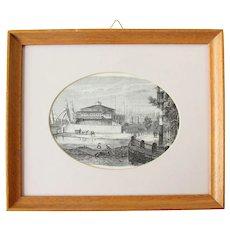 1856 Original Steel Engraving of Castle Clinton / Castle Garden in Battery Park, Manhattan, New York City