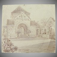 1900's Original Crayon Drawing of the Cemetery Chapel in Langenberg Germany by Franz Brantzky