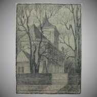 Original Charcoal Drawing of a church in Lublin, Poland by Franz Brantzky