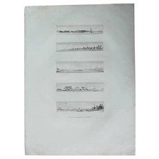 "Original Antique Print of Views of Rosetta / Rasheed and the surrounding area in  Egypt - Original Copper Engraving from ""Napoleons Travels to Egypt"" (Vivant Denon) 1802"