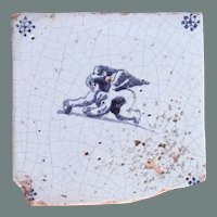 17th century Dutch Delft Dark Blue Pottery Tile with Putto / Angel