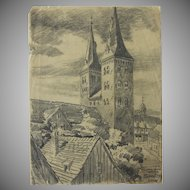 1910's Original Charcoal Drawing of Kiliankirche in Höxter by Franz Brantzky