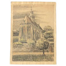 1910's Original Charcoal & Pastel Drawing of the Church of the Monastery in Höxter by Franz Brantzky