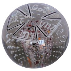 "Murano Glass Paperweight ""Gott mit uns 1914"" with Spatter Dome & Bubbles"